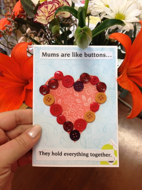 Button Mothers Day card