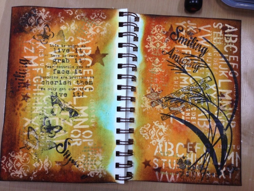 Art Journal Page Distress Ink, Paint, Stain