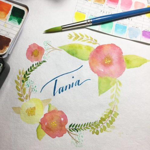 My name Watercolour Challenge by Tania Scrapbook House