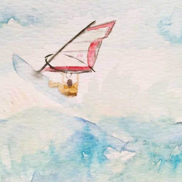 Beach Kitesurfer Watercolour Challenge by Tania Scrapbook House