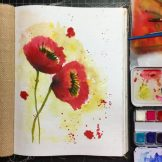 Poppies Watercolour Challenge by Tania Scrapbook House