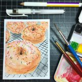 Donut Watercolour Challenge by Tania Scrapbook House