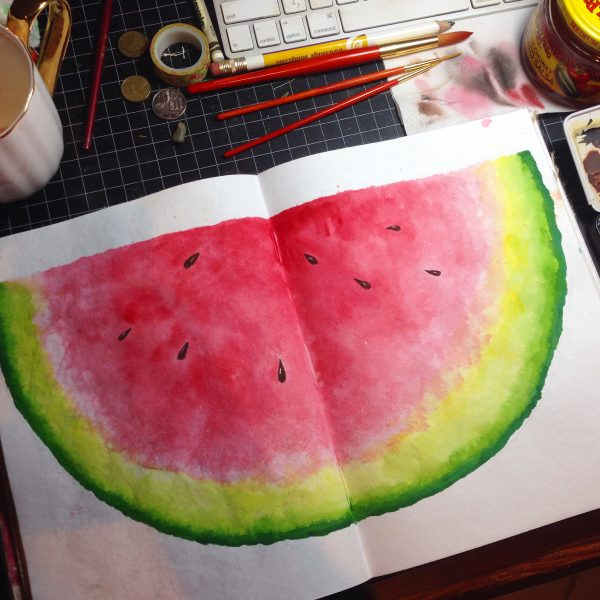 Watermelon Watercolour Challenge by Tania Scrapbook House