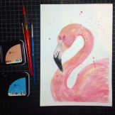 Flamingo Watercolour Challenge by Tania Scrapbook House
